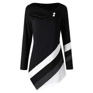 2018 Newest Women Autumn Winter Striped Asymmtrical Tunic Tops
