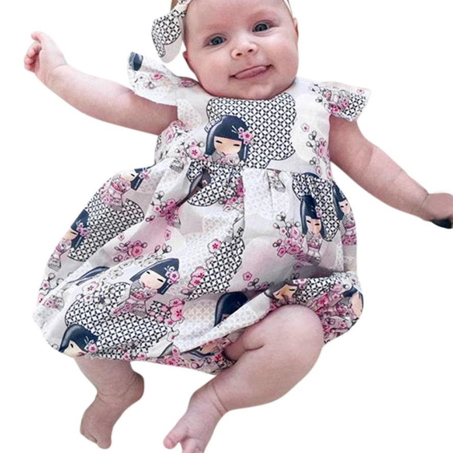 2018 New!!!   Baby Girl's Cartoon Print  Jumpsuit Romper With Matching Headband's