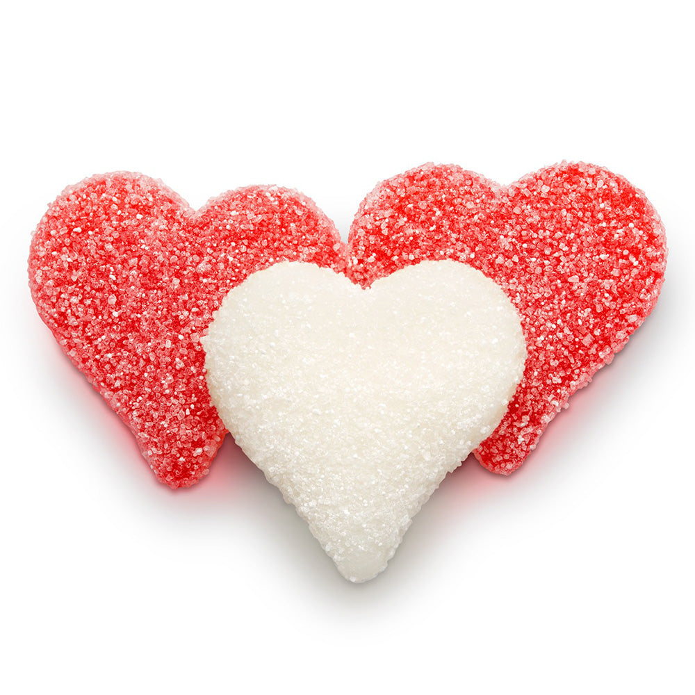 Sour Sanded Red & White Gummy Hearts