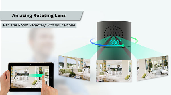 1080P HD WiFi Surveillance Camera Bluetooth Speaker IR Night Vision Motion Activated Security Live View, 330 Degree Panning