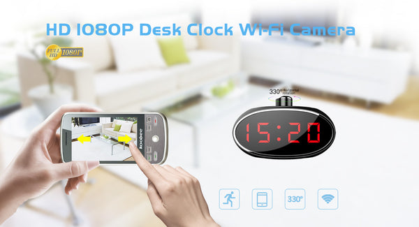 WiFi Surveillance Security Camera | Desk Table Clock | 1080P HD | Motion Activated | Remotely Control Live View & Panning Camera W/ Audio