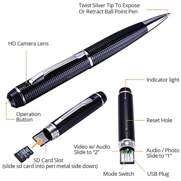 Covert Pen Camera | 1080P High Definition Surveillance | Video Recorder and/or Voice Recorder / Photos | Up To 128 GB SD Card