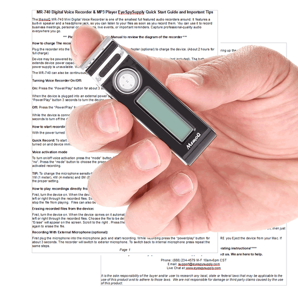 small spy recorder in hand
