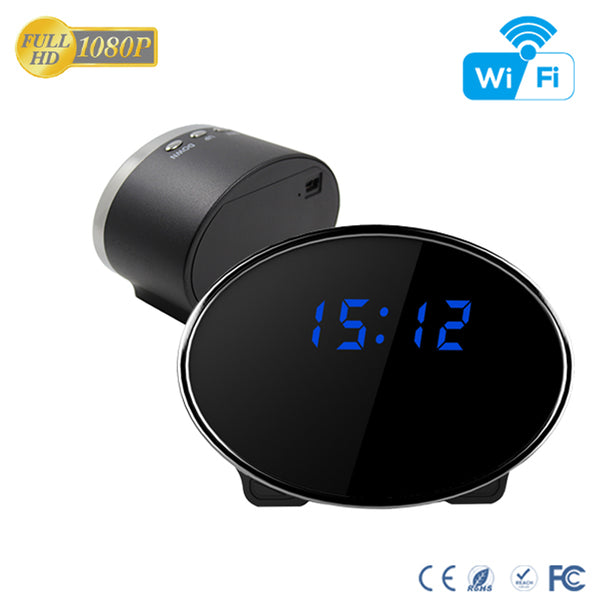 WiFi Surveillance Desk Table Clock Camera Night Vision Motion Activated Security Live View & Audio Infrared