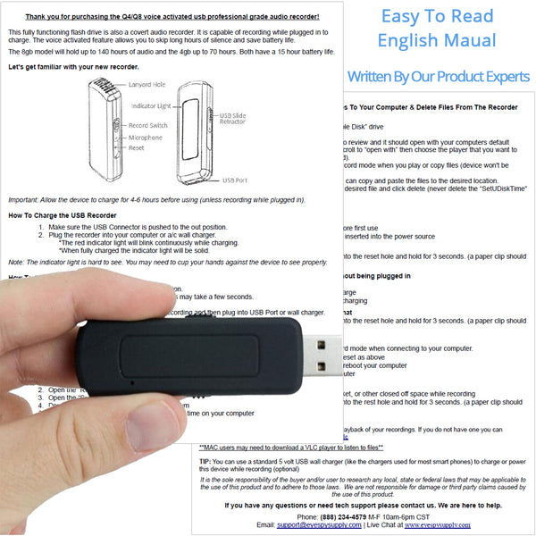 Small Voice Activated Digital Audio Recorder Built Into A Working USB Flash Drive
