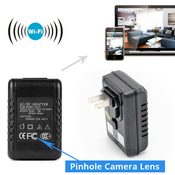 WiFi Surveillance Camera | Functional AC Adapter Phone Charger | 1080P High Definition | Motion Activated | Remote Live View
