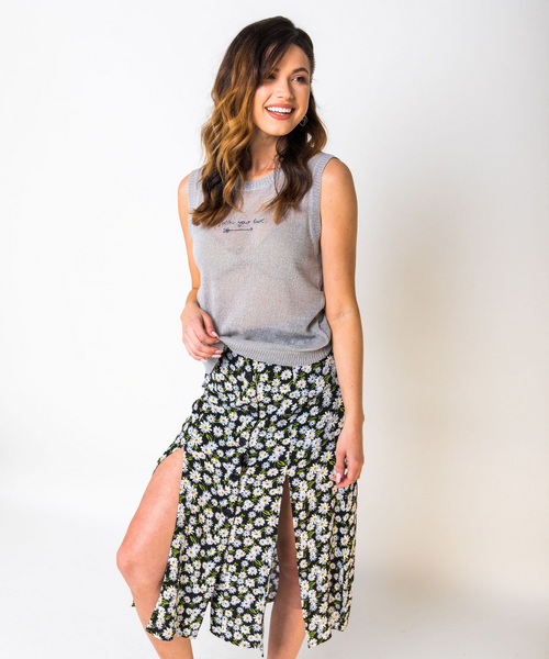 Daisy Print Side Slit Skirt