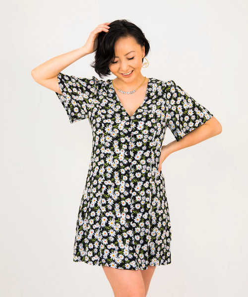 Daisy Print Button Front Dress