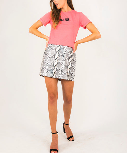 Faux Snakeskin Mini Skirt