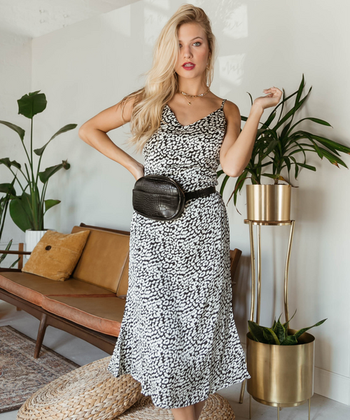 Black and White Leopard Satin Slip Dress