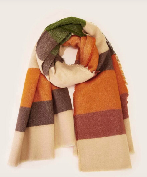 Orange Color Block Scarf