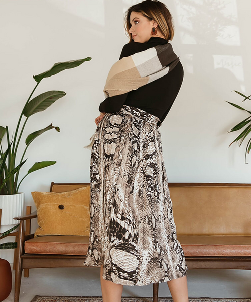Pleated Snake Print Midi Skirt
