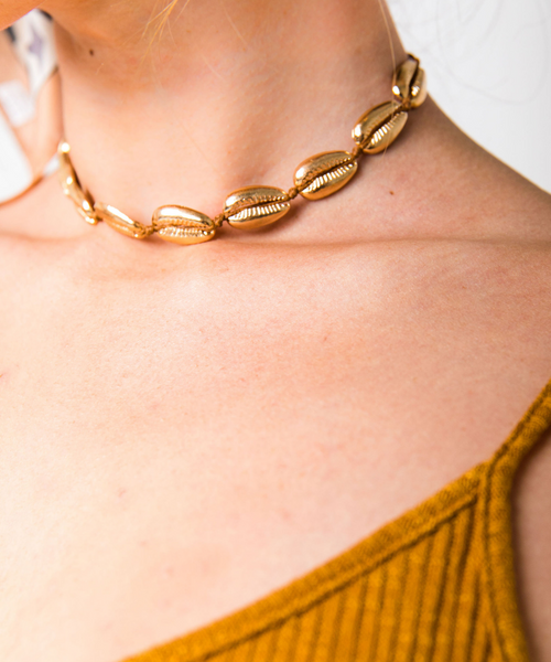 Golden Puka Shell Choker Necklace