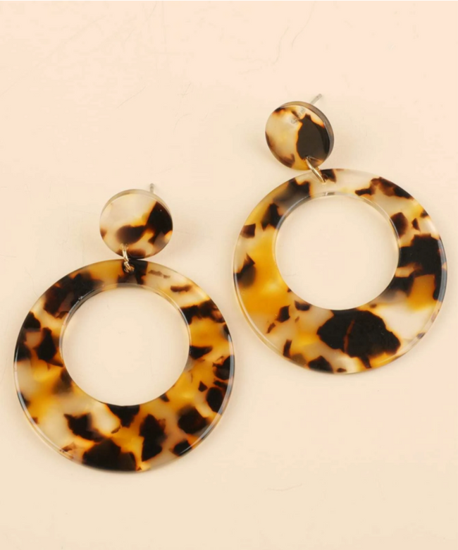 Tortoiseshell Round Earrings