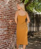 Lush Button Front Ribbed Cami Dress