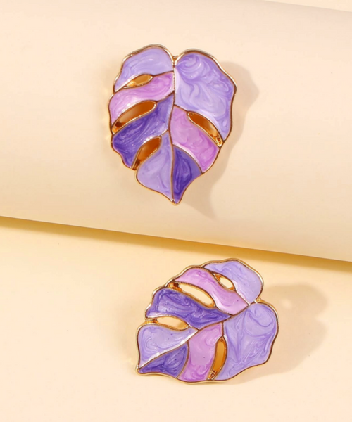 Pretty in Purple Leaf Earrings