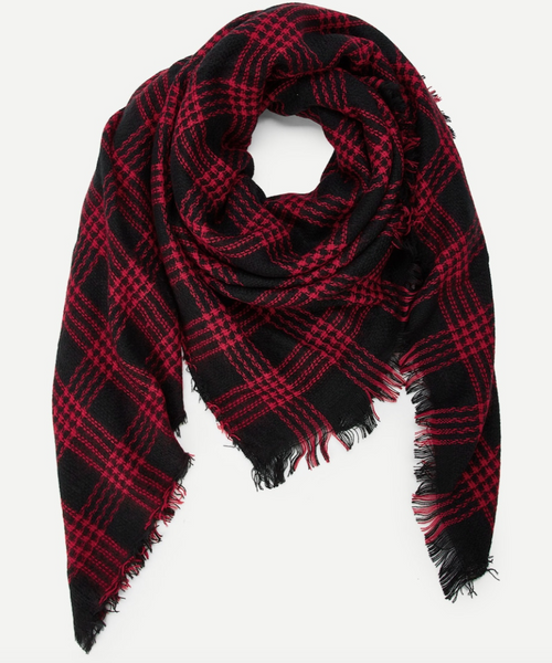 Red and Black Plaid Scarf