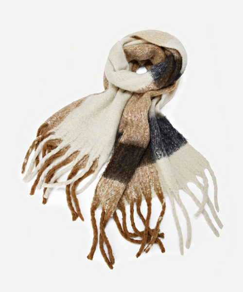 Color-Block Fringe Scarf