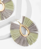 Fringed Hoop Statement Earrings