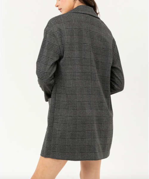 Dark Grey Plaid Boyfriend Blazer