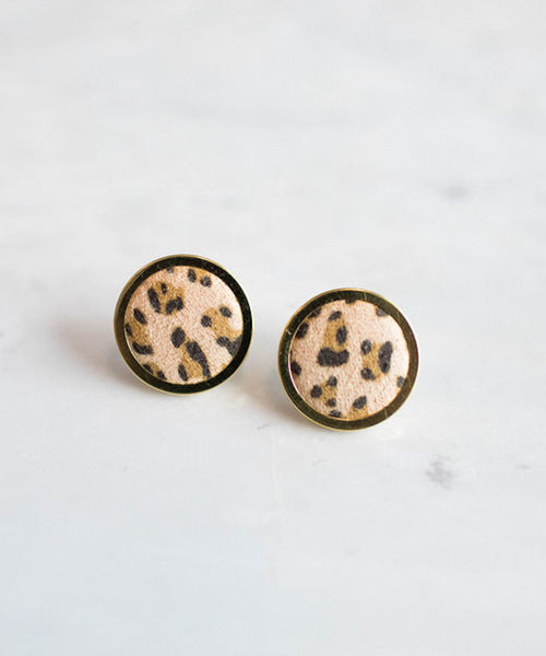Cheetah Girl Button Earrings