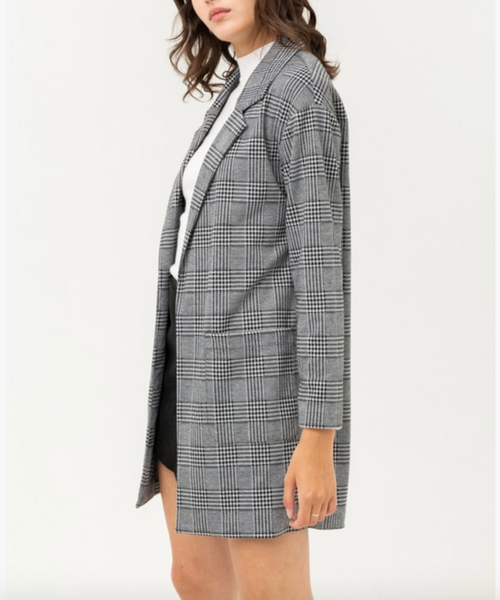 Light Grey Plaid Boyfriend Blazer