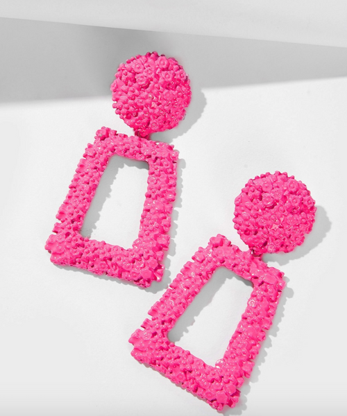 Pink Textured Rectangle Earrings