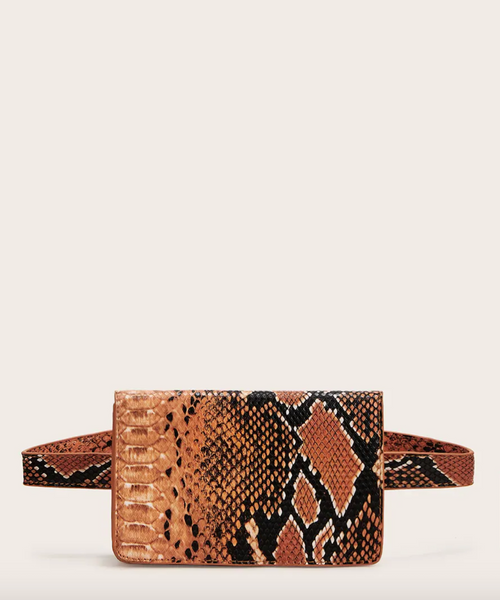 Faux Snakeskin Belt Bag