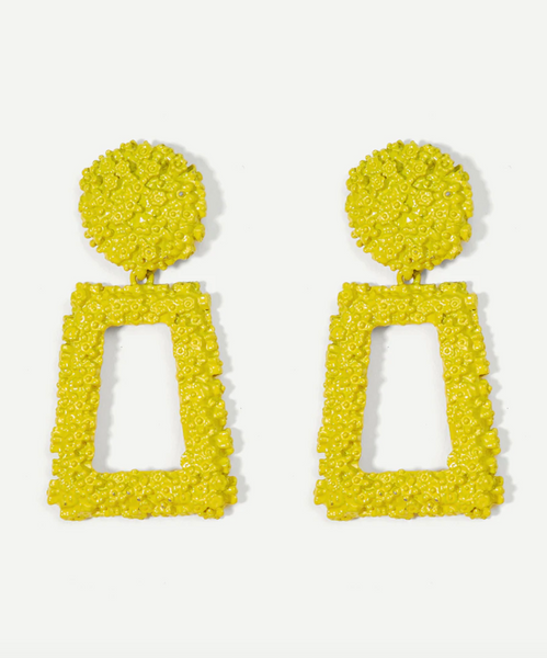 Yellow Textured Rectangle Earrings