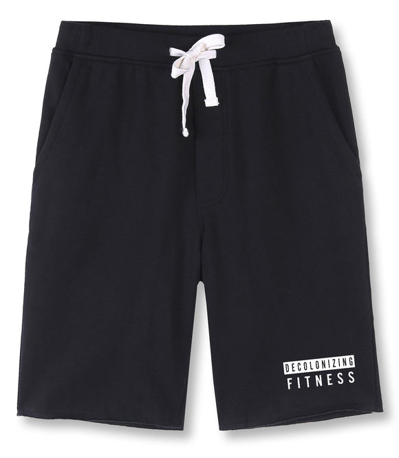 Decolonizing Fitness Men's Elastic Black Fleece Jogger Gym Shorts