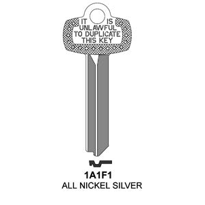 1A1F1 Box of 50 Nickel Silver Key Blanks