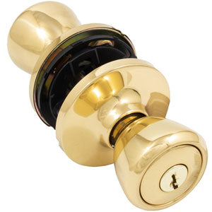 Residential Knob Lockset Entrance Function Polished Brass (with Kwikset Type Pop-out Cylinder)
