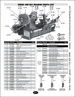 Key Machine Parts List Free Download