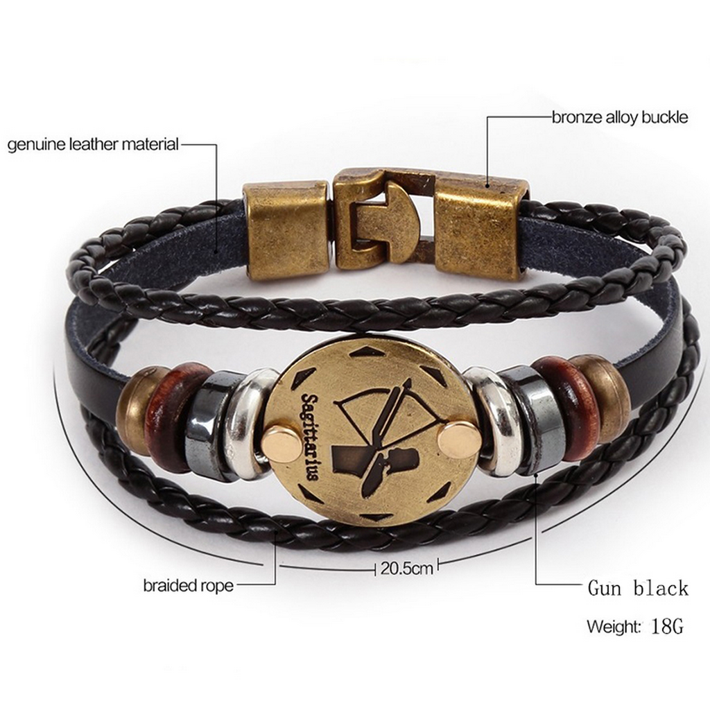 Genuine Leather Zodiac-sign Bracelet