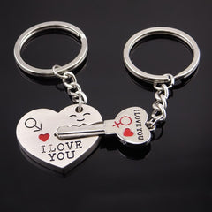 2 Pcs Heart & Key KeyChain