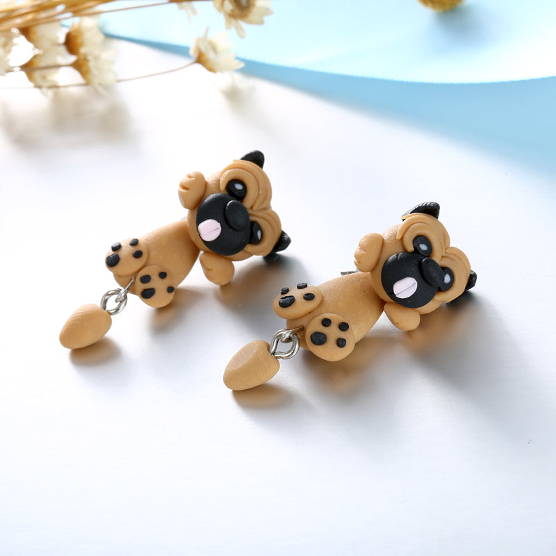 Cute Pug Dog Earrings Piercing