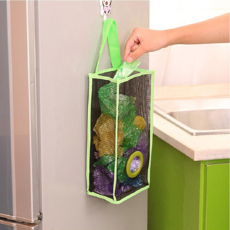 Super Hanging Trash Wall Bag Storage Natural Basket