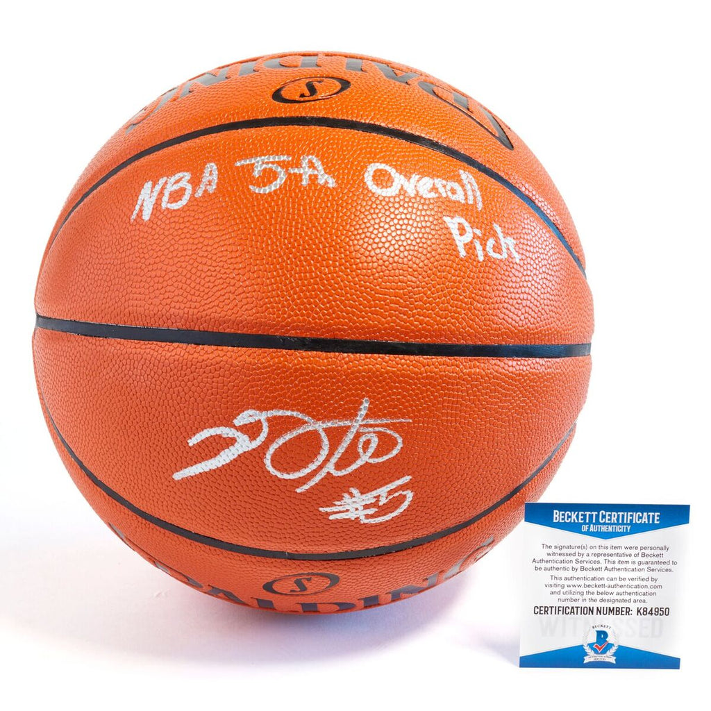 De'Aaron Fox Sacramento Kings Officially Licensed Spalding NBA Replica Game Ball Signed in Silver Paint Marker with Inscription NBA 5th Overall Pick