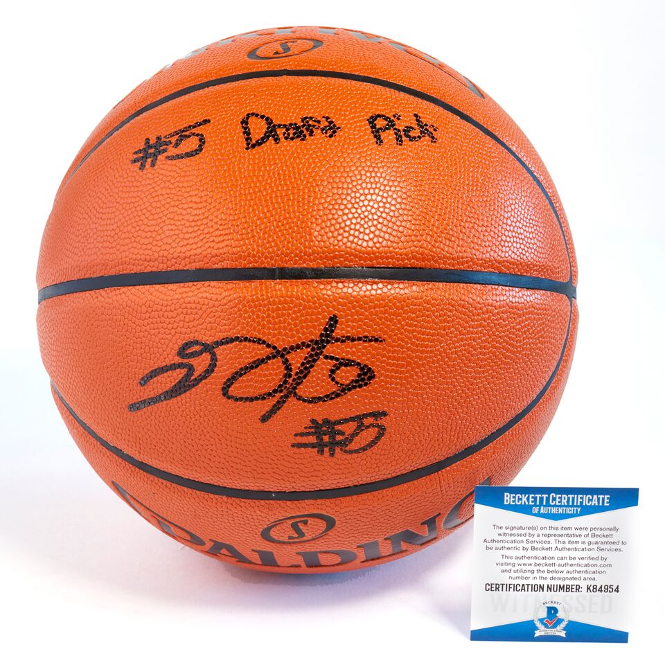 De'Aaron Fox Sacramento Kings Officially Licensed Spalding NBA Replica Game Ball Signed in Black Paint Marker with Inscription #5 draft pick