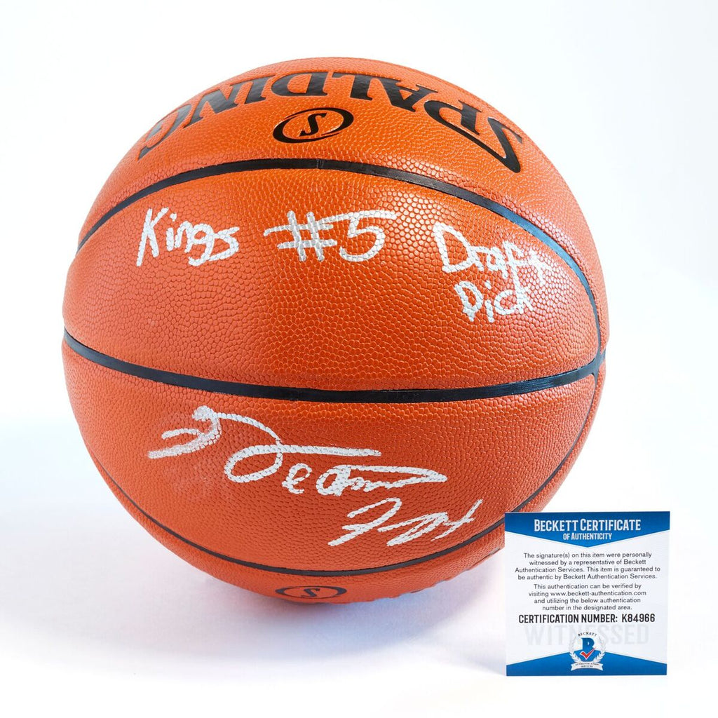 De'Aaron Fox Sacramento Kings Officially Licensed Spalding NBA Replica Game Ball Uniquely Signed Full Name in Silver Paint Marker with Inscription Kings #5 Draft Pick