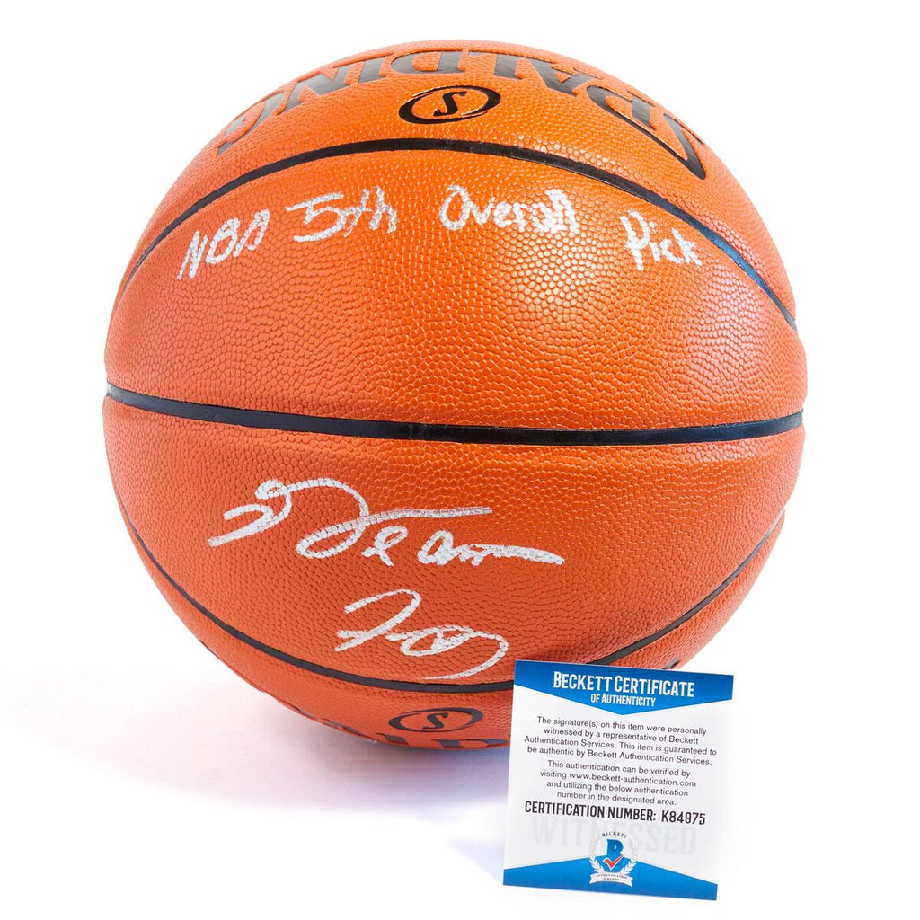 De'Aaron Fox Sacramento Kings Officially Licensed Spalding NBA Replica Game Ball Signed with Unique Siganture in Silver Paint Marker with Inscription NBA 5th Overall Pick