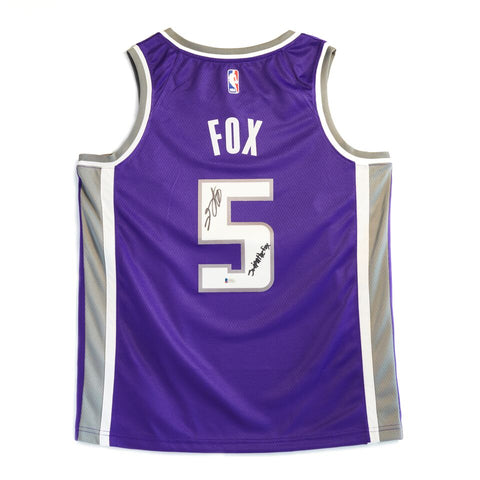 "De'Aaron Fox Sacramento Kings Signed Nike Swingman Jersey Purple Size 48 With Inscription ""Swipathefox"""
