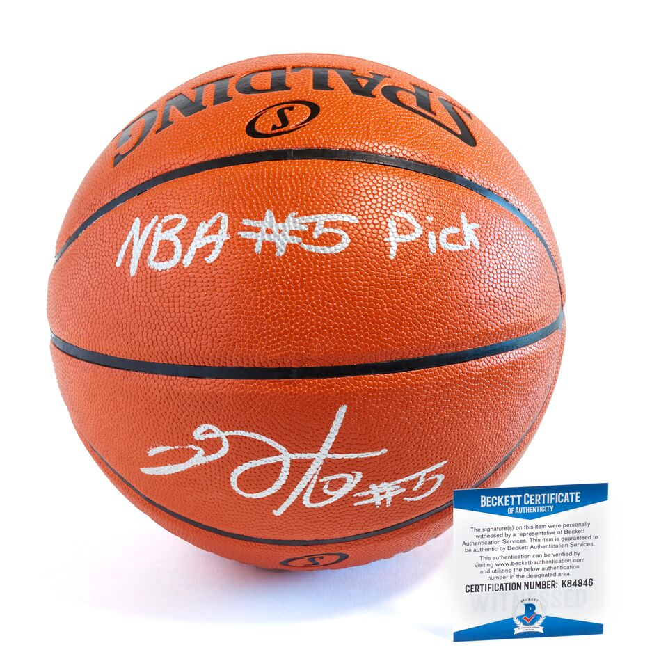 De'Aaron Fox Sacramento Kings Officially Licensed Spalding NBA Replica Game Ball Signed in Silver Paint Marker with Inscription NBA #5 Pick