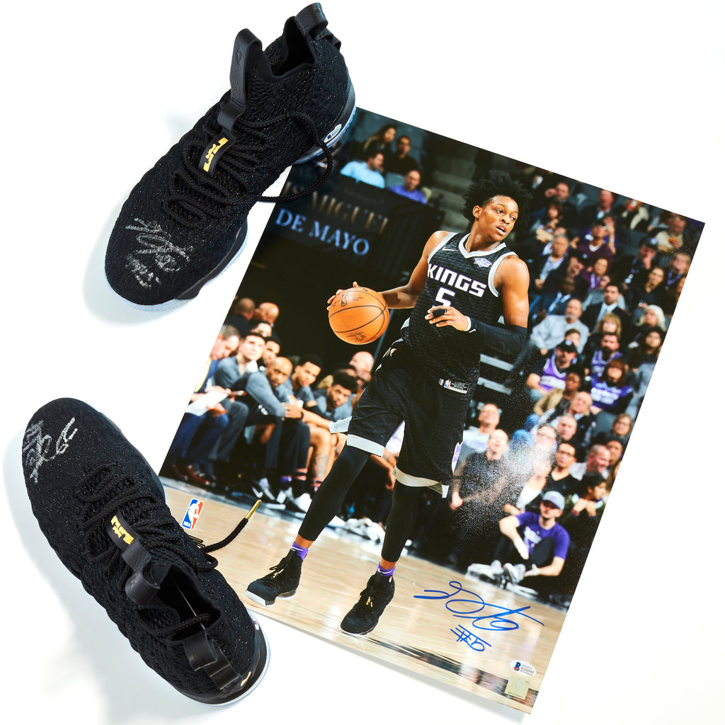 De'Aaron Fox Sacramento Kings Signed Authentic Game-Used Nike Shoes vs. Brooklyn Nets on Thursday, March 1, 2018 with matching Autographed Photograph