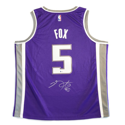 De'Aaron Fox Sacramento Kings Signed Nike Swingman Jersey Purple Size 52