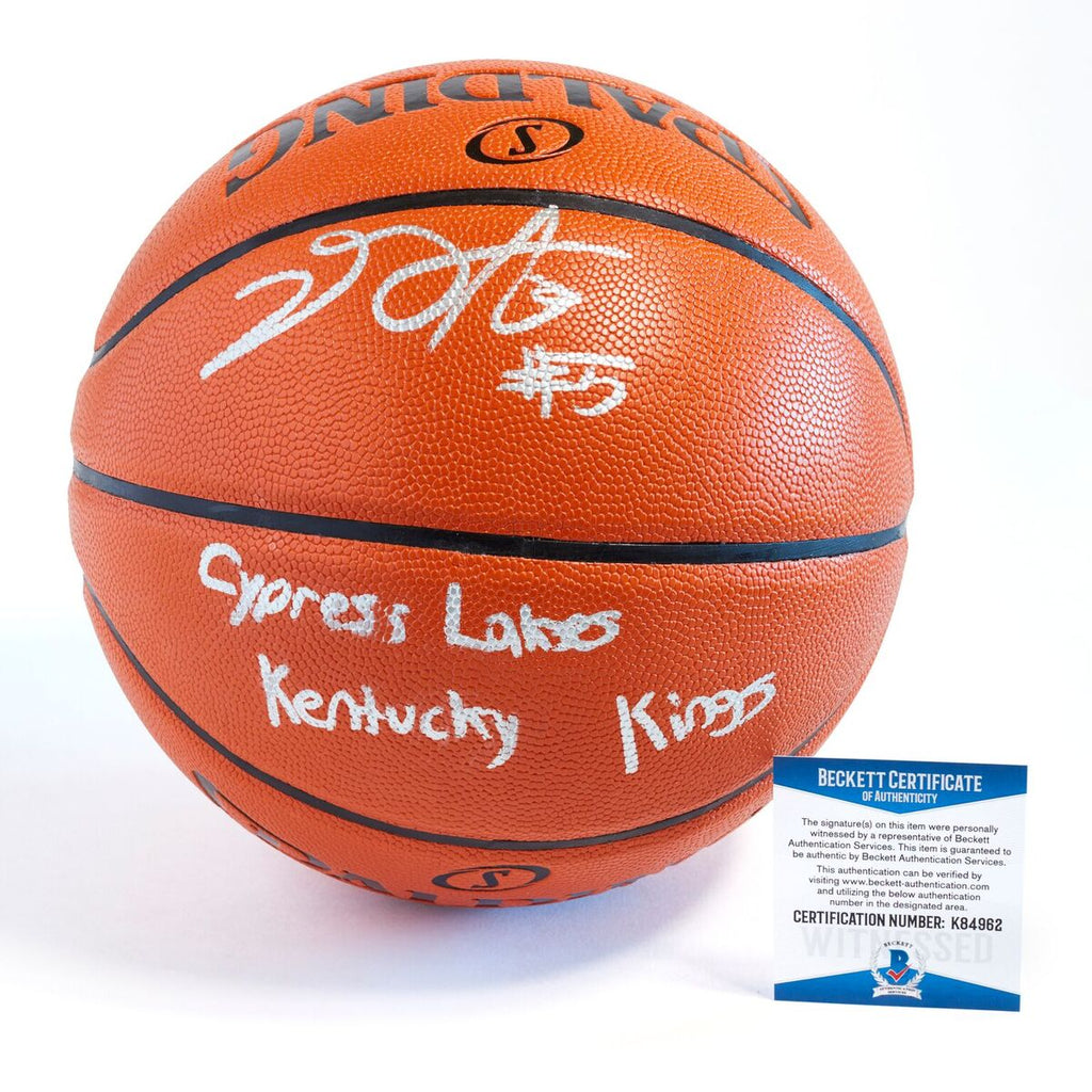 De'Aaron Fox Sacramento Kings Officially Licensed Spalding NBA Replica Game Ball Signed in Silver Paint Marker with Inscription Cypress Lakes, Kentucky, Kings