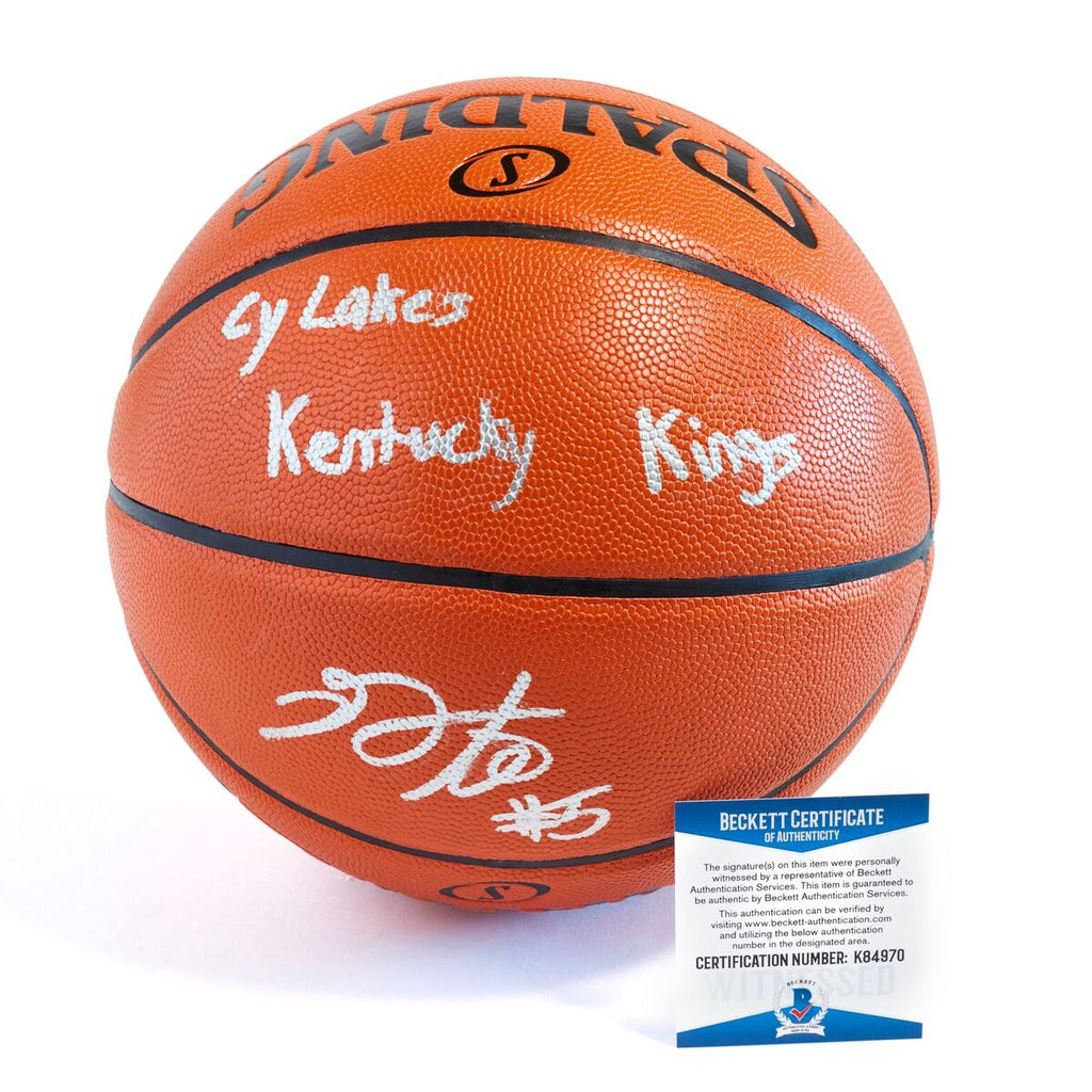 De'Aaron Fox Sacramento Kings Officially Licensed Spalding NBA Replica Game Ball Signed in Silver Paint Marker with Inscription Cy Lakes Kentucky Kings