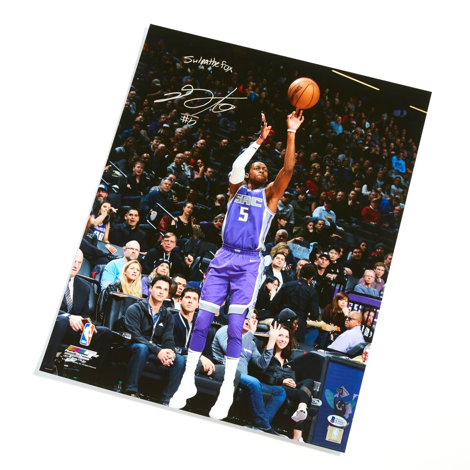 De'Aaron Fox Sacramento Kings Authentic Autographed with Inscription 16x20 Jumpshot Photograph