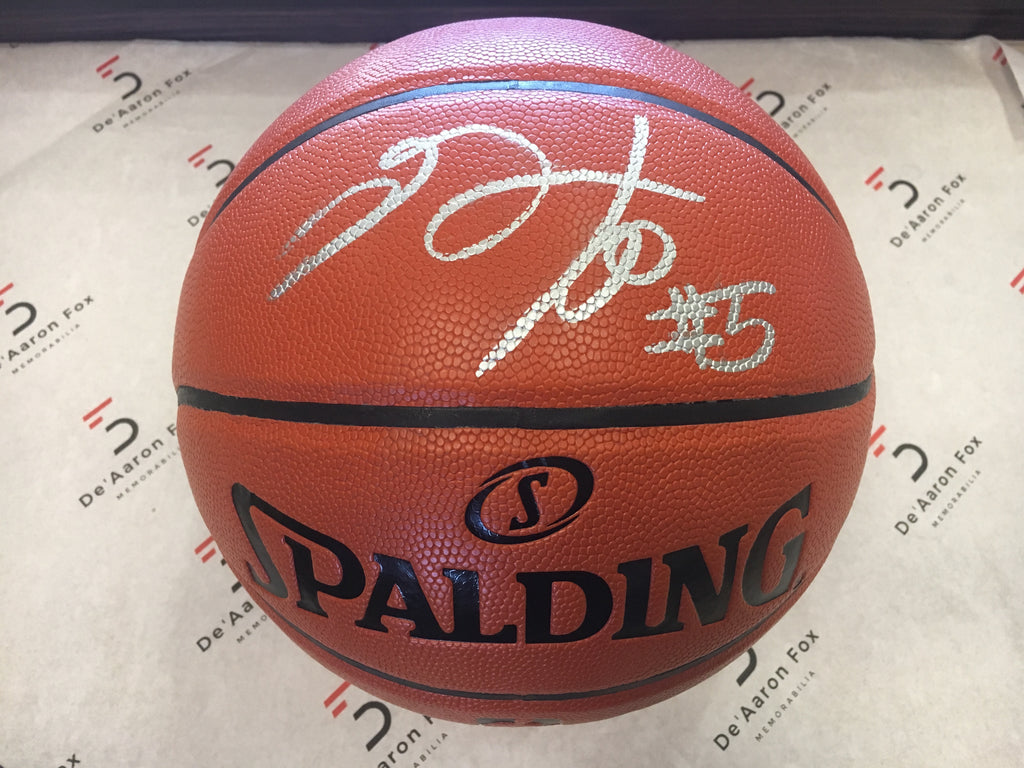 "De'Aaron Fox Sacramento Kings OfficiallyLicensed Spalding NBA Replica Game Ball Signed in Silver Paint Marker with Signature and Inscription ""#5"""