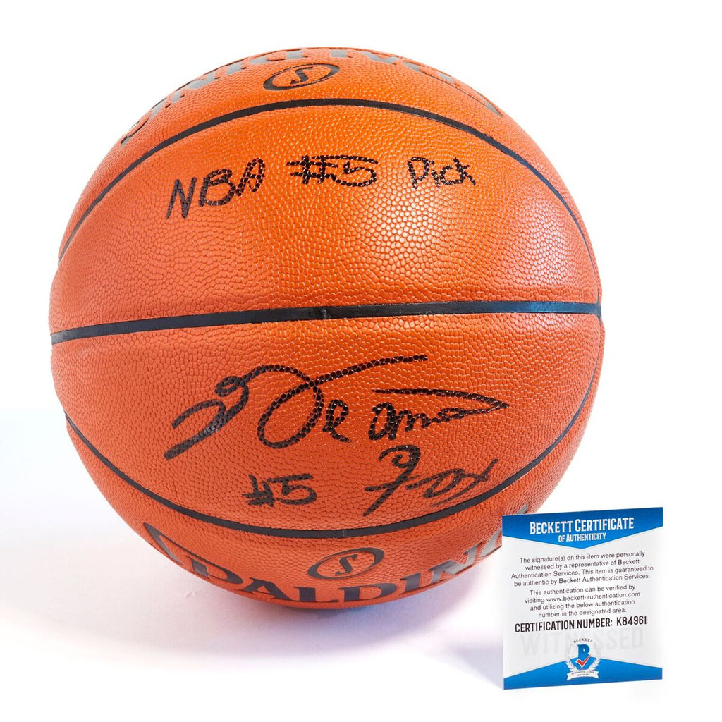 De'Aaron Fox Sacramento Kings Officially Licensed Spalding NBA Replica Game Ball Signed with Unique Siganture in Black Paint Marker with Inscription NBA #5 Pick